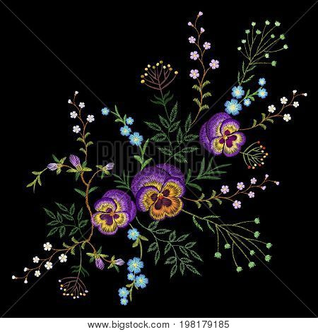 Embroidery pancies floral pattern small branches wild herb with little blue violet field flower. Ornate traditional folk fashion patch design neckline black background vector illustration art