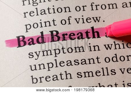 Fake Dictionary Dictionary definition of the word Bad Breath. including key descriptive words.
