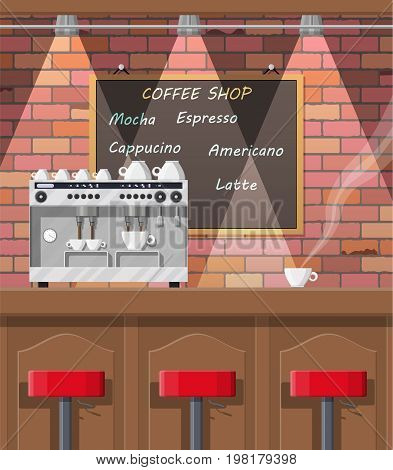 Interior of coffee shop, pub, cafe or bar. Bar counter, chairs and board with menu. Coffee cup with hot drink. Brick wall and lamp. Vector illustration in flat style.