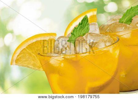 Orange cocktail glasses bar color background festive