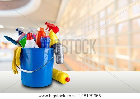 Plastic bucket gloves bottle clean cleaning yellow