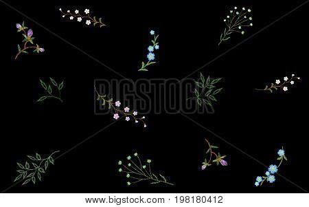 Embroidery seamless floral pattern small branches wild herb with little blue violet field flower. Ornate traditional folk fashion patch design neckline black background vector illustration art