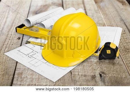 Yellow blue hat hard blueprint prints background