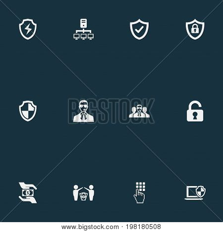 Elements Dollar, Bodyguard, Approve And Other Synonyms Locked, Datacenter And Safeguard.  Vector Illustration Set Of Simple Safety Icons.
