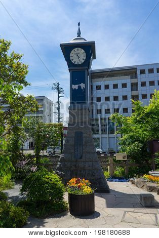 Matsumoto Japan - May 16 2017 : The clock tower in front of Nawate Dori (or Frog Stree). Nawate-dori is a shopping street that gives the feel of the city's history as a castle town.