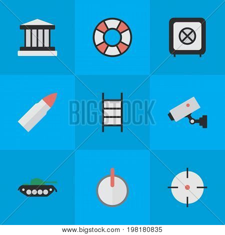 Elements Shot, Grille, Supervision And Other Synonyms Military, Save And Lifebuoy.  Vector Illustration Set Of Simple Offense Icons.