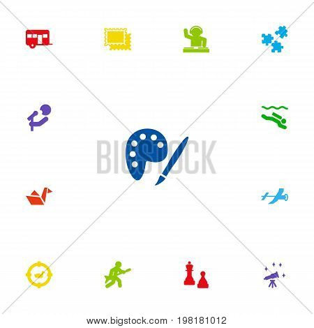 Collection Of Disco, Jigsaw, Singer And Other Elements.  Set Of 13 Hobbie Icons Set.