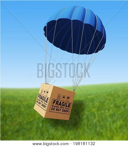 Parcel parachute fragile render illustration pack isolated
