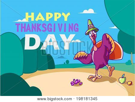Card template thanksgiving. Turkey bird for Happy Thanksgiving celebration. dancing bird in a hat