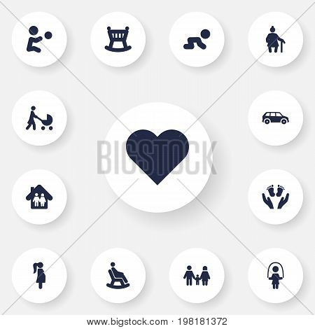 Collection Of Perambulator, Look After, Relatives And Other Elements.  Set Of 13 Family Icons Set.