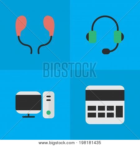 Elements Microphone, Earphone, PC And Other Synonyms Earphone, Calculate And Accounting.  Vector Illustration Set Of Simple Devices Icons.