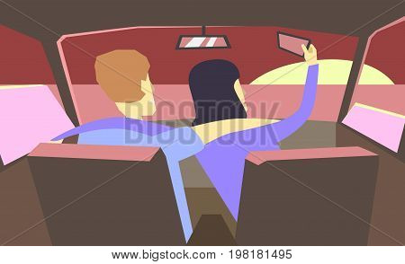 Taking Photo on Smart Phone. Vector Illustration. Selfie photos for social networks media. Concept modern life with selfie photo camera. photo of the couple in the car - romance