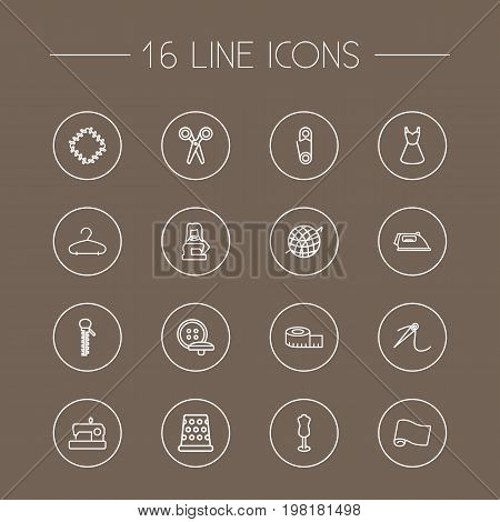 Collection Of Iron, Hanger, Tremble And Other Elements.  Set Of 16 Sewing Outline Icons Set.
