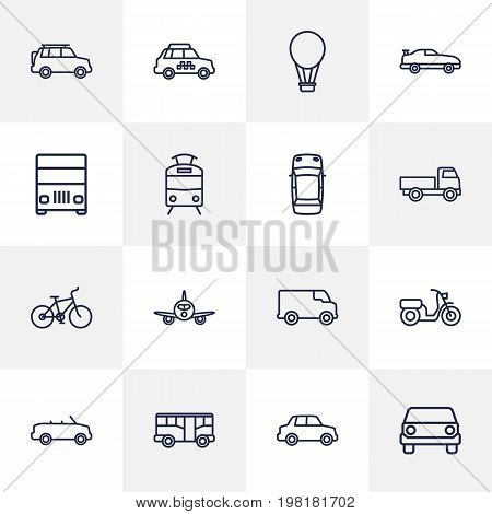 Collection Of Moped, Suv, Lorry And Other Elements.  Set Of 16 Traffic Outline Icons Set.