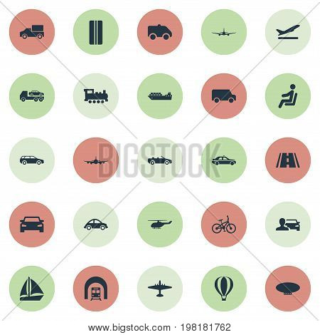 Elements Aeration, Evacuator, Blimp And Other Synonyms Airplane, Boat And Trailer.  Vector Illustration Set Of Simple Transportation Icons.