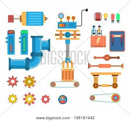 Industrial mechanical automation conveyor robotic hands for manufacture orthogonal. mechanisms nodes robot. Factory construction equipment, engineering vector illustration