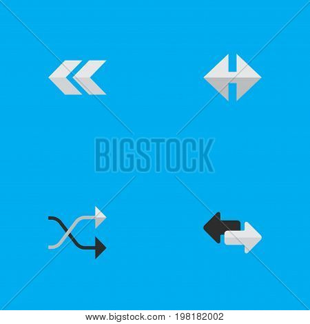 Elements Back, Chaotically, Indicator And Other Synonyms Rearward, Back And Chaotically.  Vector Illustration Set Of Simple Pointer Icons.