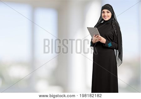 Young woman tablet arab arabian young adult computer