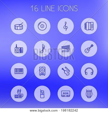 Collection Of Fiddle, Note, Loudspeaker And Other Elements.  Set Of 16 Melody Outline Icons Set.