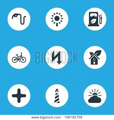 Elements Velocipede, Benzine, Weather And Other Synonyms Forecast, Gas And Sunflower.  Vector Illustration Set Of Simple Energy Icons.