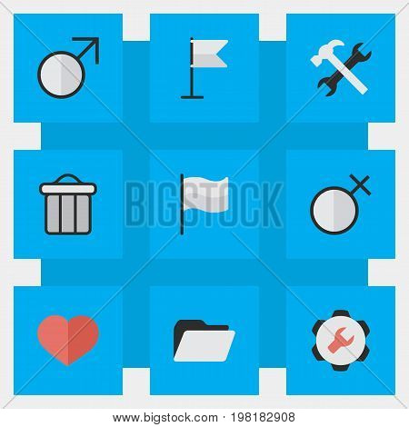 Elements Banner, Settings, Female And Other Synonyms Man, Junk And Settings.  Vector Illustration Set Of Simple Interface Icons.