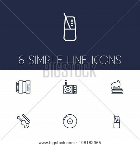 Collection Of Fiddle, Station, Vinyl And Other Elements.  Set Of 6 Song Outline Icons Set.
