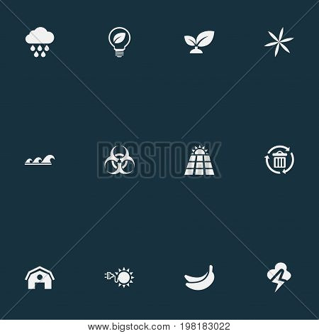 Elements Biology Peril, Cloudburst, Sun Power And Other Synonyms Banana, Conservation And Tropical.  Vector Illustration Set Of Simple Energy Icons.