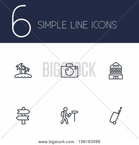 Collection Of Palm, Photo, Direction And Other Elements.  Set Of 6 Journey Outline Icons Set.
