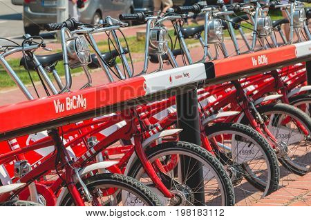 Service Vehicles Bicycles Vodafone Bicing, A Bicycle Sharing System In Barcelona