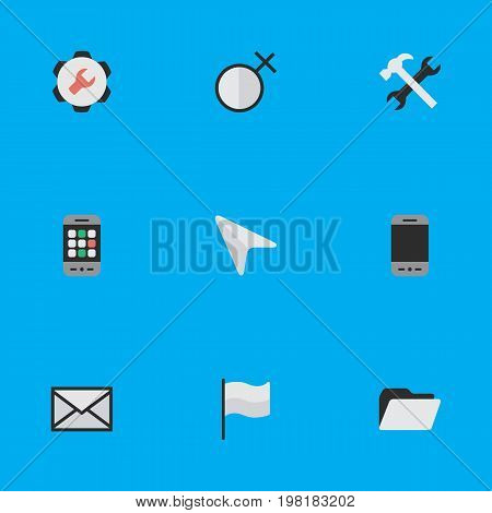 Elements Smartphone, Flag, Envelope And Other Synonyms Mouse, Cursor And Message.  Vector Illustration Set Of Simple Menu Icons.