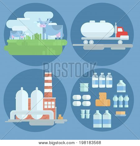 icon dairy products in flat style. manufacturing mini plant of dairy products