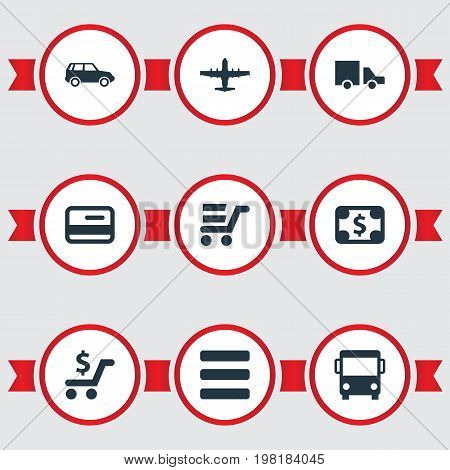 Elements Dollar, Web Trading, List And Other Synonyms Debit, Price And List.  Vector Illustration Set Of Simple Carting Icons.