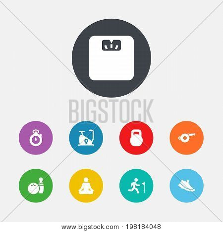 Collection Of Training Bicycle, Kegling, Timer And Other Elements.  Set Of 9 Bodybuilding Icons Set.