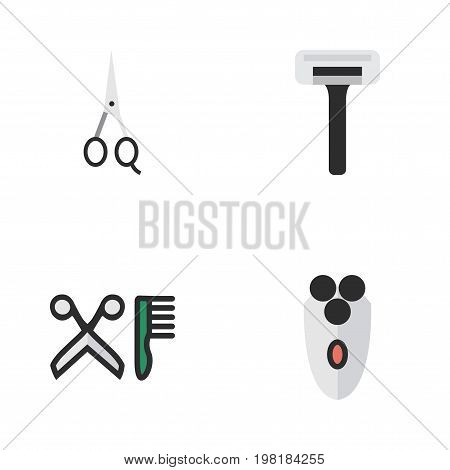 Elements Shaving Machine, Comb, Scissors And Other Synonyms Clippers, Scissors And Shear.  Vector Illustration Set Of Simple Shop Icons.