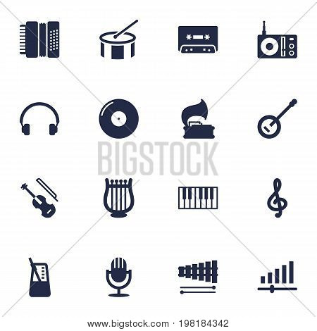 Collection Of Harmonica, Turntable, Octave Keyboard And Other Elements.  Set Of 16 Song Icons Set.