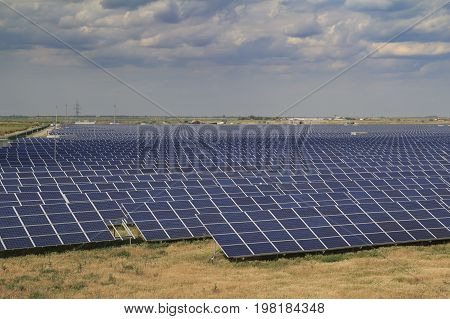 Solar pannels in array at the power station in south Ukraine