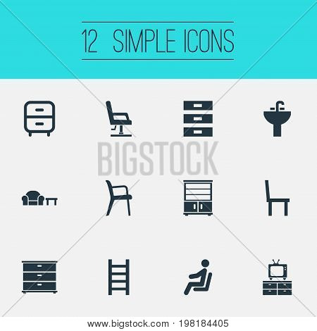 Elements Furniture Set, Waiting Man, Container And Other Synonyms Chest, Conference And Cupboard.  Vector Illustration Set Of Simple Furnishings Icons.