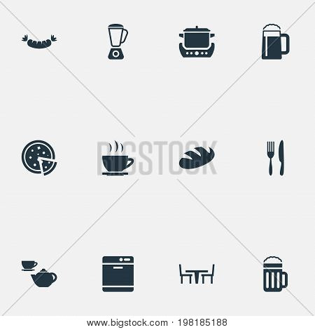 Elements Wheat, Tortilla, Sausage And Other Synonyms Cup, Knife And Tea.  Vector Illustration Set Of Simple Gastronomy Icons.