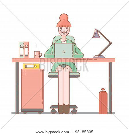 Business woman lady entrepreneur in a suit working on a laptop computer at her clean and sleek office desk. Flat style color modern vector illustration.