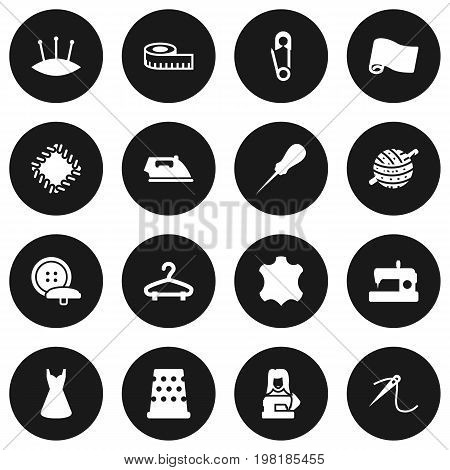 Collection Of Seamstress, Eyelet, Machine And Other Elements.  Set Of 16 Tailor Icons Set.