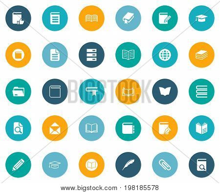 Elements Catalog, Sketchbook, Planet And Other Synonyms Dictionary, Recommended And Publication.  Vector Illustration Set Of Simple Knowledge Icons.