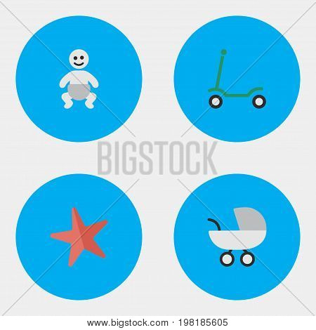 Elements Toy, Child, Stroller And Other Synonyms Toy, Child And Carriage.  Vector Illustration Set Of Simple Infant Icons.