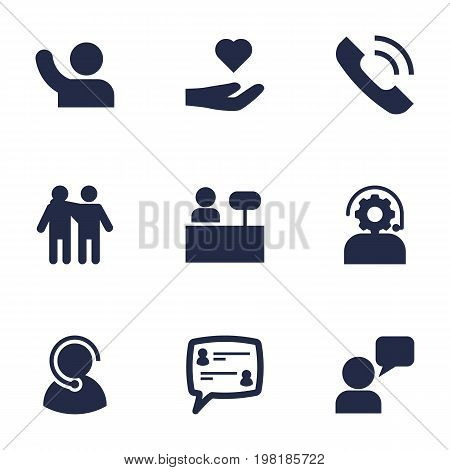 Collection Of Call, Assistant, Undertake And Other Elements.  Set Of 9 Backing Icons Set.