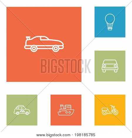 Collection Of Moped, Taxi, Air Balloon And Other Elements.  Set Of 6 Transport Outline Icons Set.