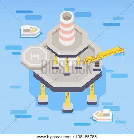 Oil rig in the water. In flat design style