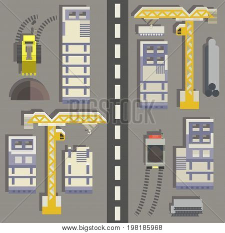 construction site isometric flat - building a house - vector flat illustration. Construction isometric banners set with construction site symbols isolated vector illustration