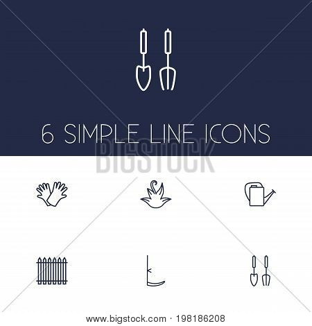Collection Of Scythe, Safer Of Hand , Palisade Elements.  Set Of 6 Farm Outline Icons Set.