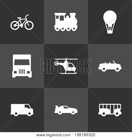 Collection Of Autobus, Caravan, Cabriolet And Other Elements.  Set Of 9 Traffic Icons Set.