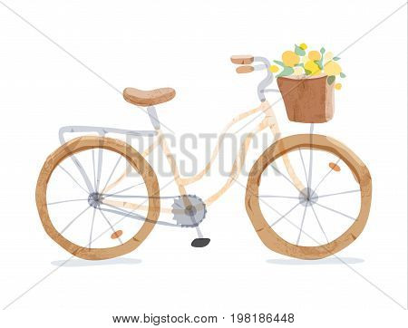 Vector illustration of retro yellow bicycle. Types of bike: road bicycle, city, urban bike, old, cruiser. Vintage bicycle in watercolor style. Bike for girl with wooden basket, crate full of flowers