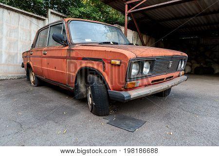KRIVOY ROG UKRAINE - JUL 16 - The old abandoned car VAZ 2106 is out of order Sunday 16 July 2017